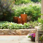 water feature of corten steel bubbler fountains