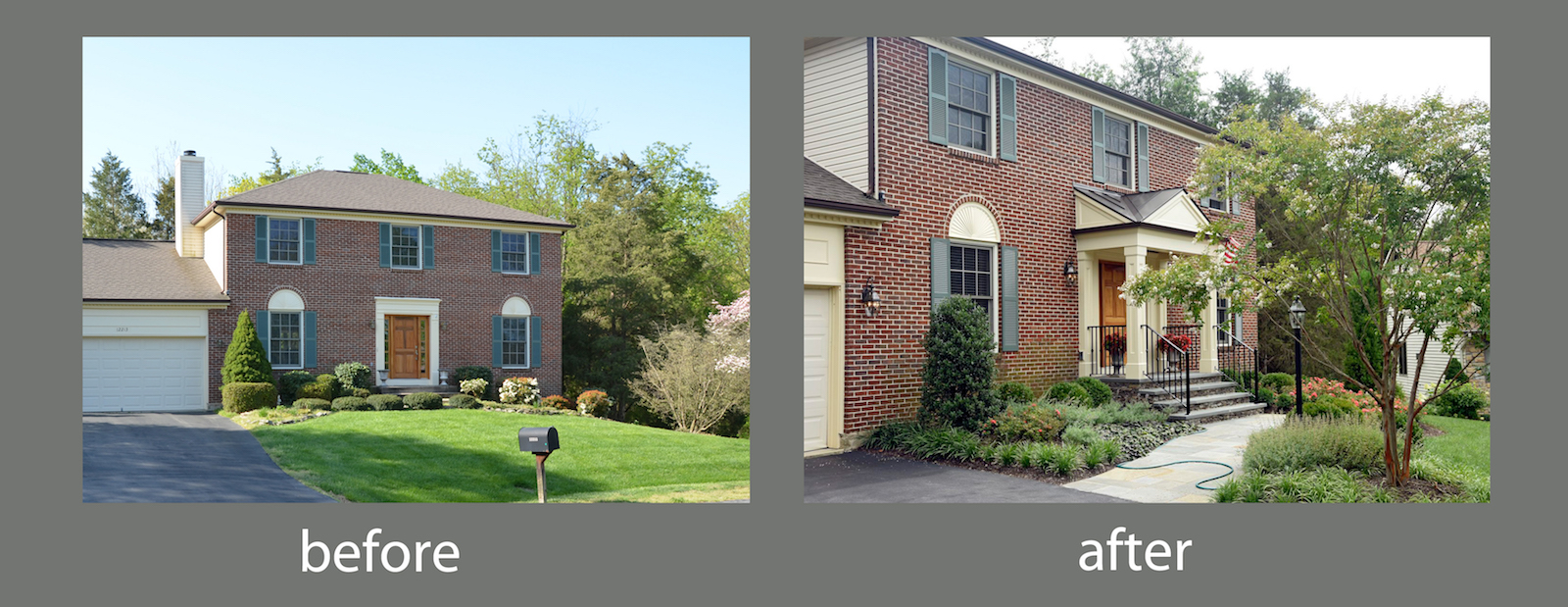 before/after front yard landscape design herndon va
