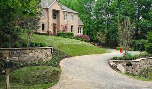 redesigned driveway approach to house