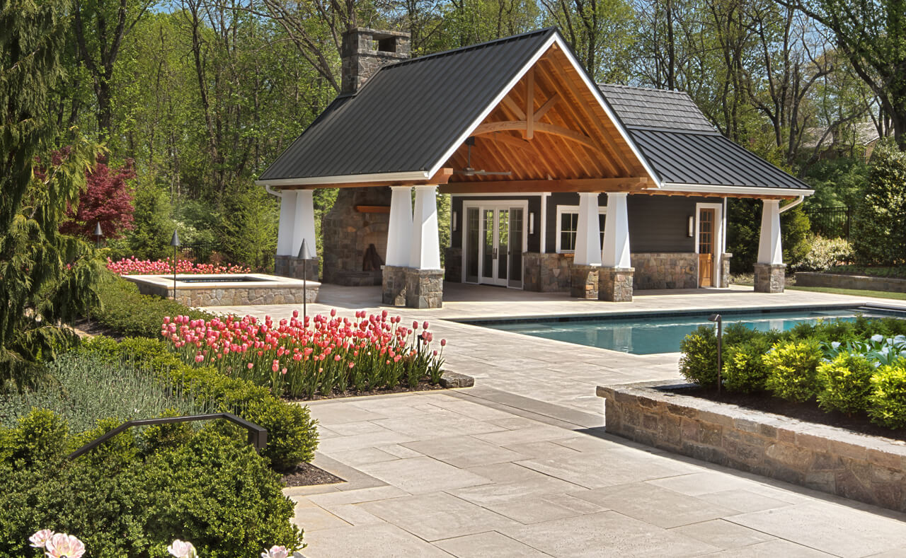 pool house with stone fireplace Oakton VA