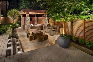 small backyard landscaping with fire feature
