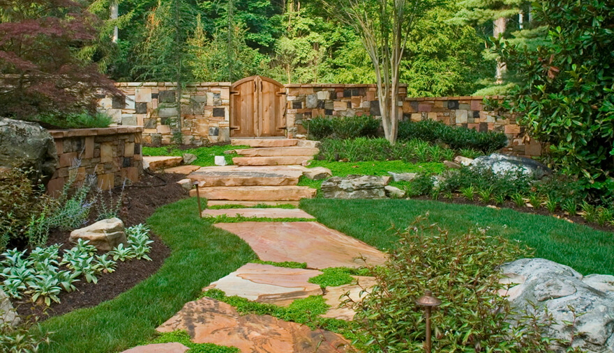 backyard lawn and border beds