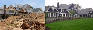 retaining wall construction from dirt pile to lush lawns