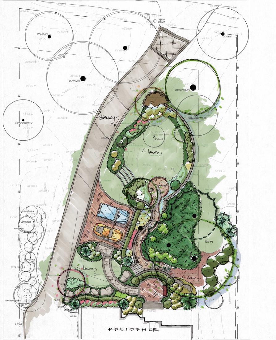 Front yard landscape design in alexandria virginia for Landscape layout plan