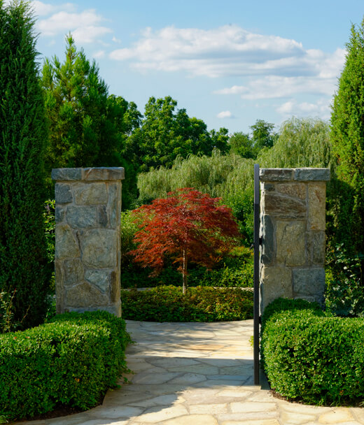 garden gate and walkway in Potomac