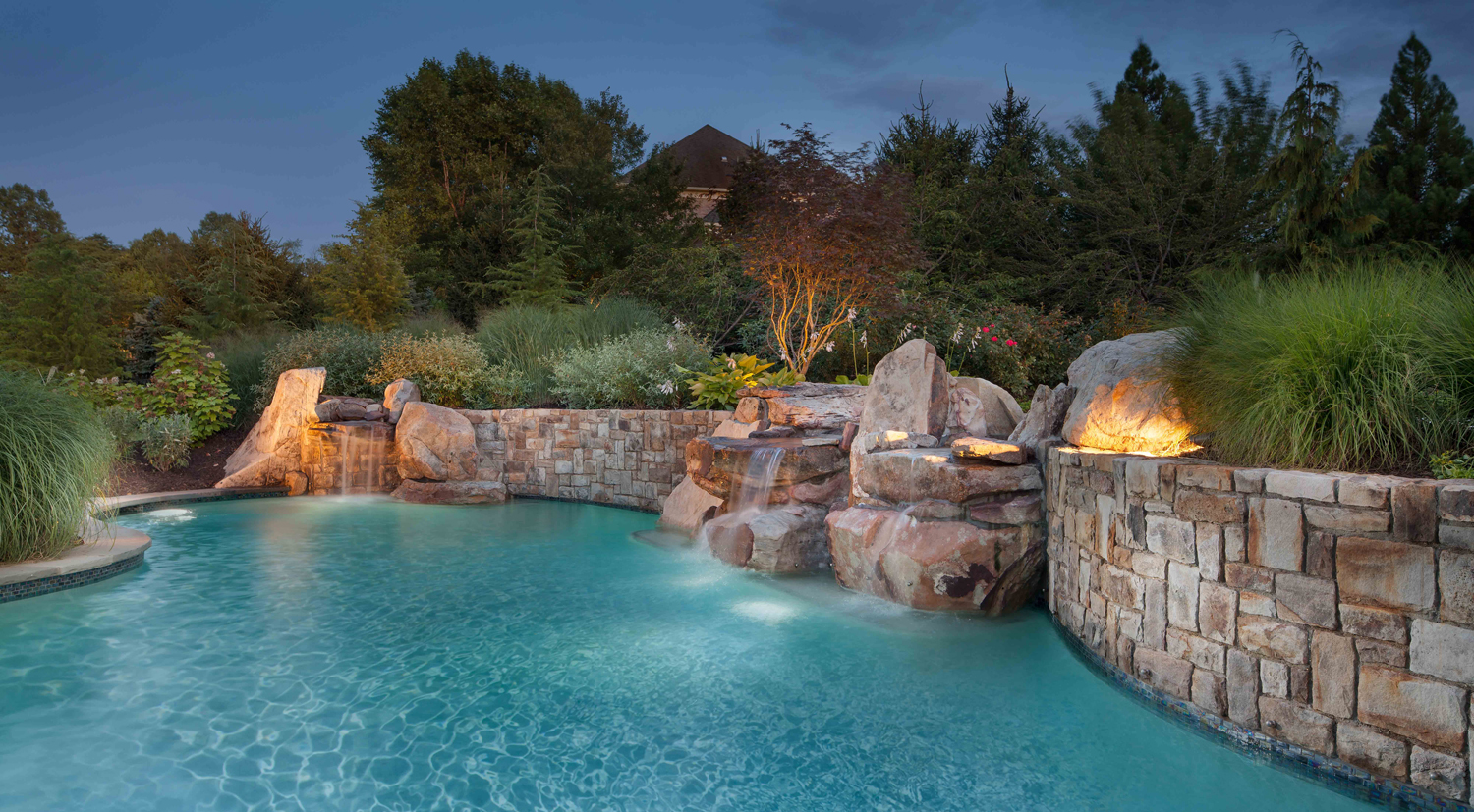 Landscape design for swimming pool waterfalls in potomac for Pool design maryland