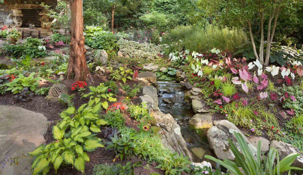 andscape maintenance of woodland flower Garden and Brook