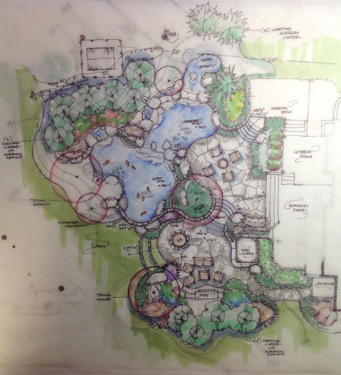 Waterfall koi pond design in vienna virginia surrounds for Site plan with landscape