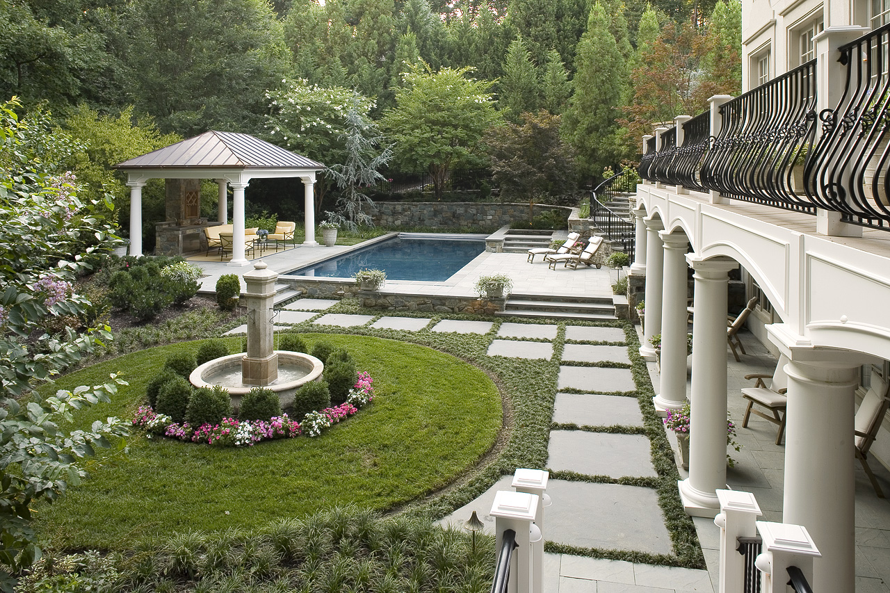 great falls landscape design in classic southern european style