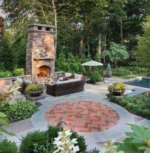 free standing stone patio fireplace