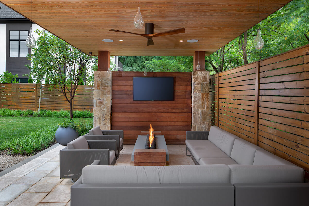 ultra modern style shelter with fire table