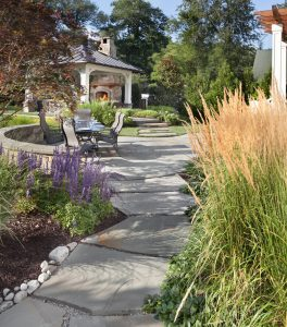 outdoor fireplace pavilion and slab stone path