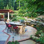 outdoor kitchen on flagstone patio-Great Falls-VA