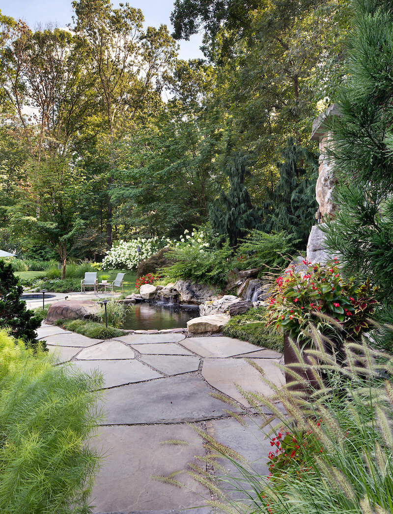 small backyard pond enclosed by lush plantings