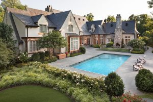 rectangular swimming pool and landscaping
