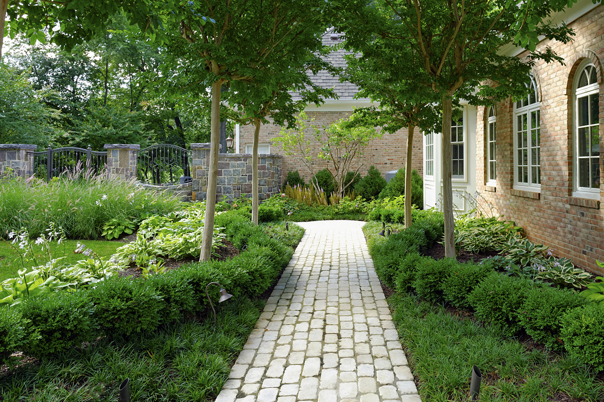 boxwood walkway bed border in allee