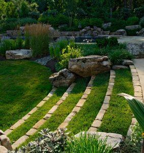 grass-cobblestone staircase