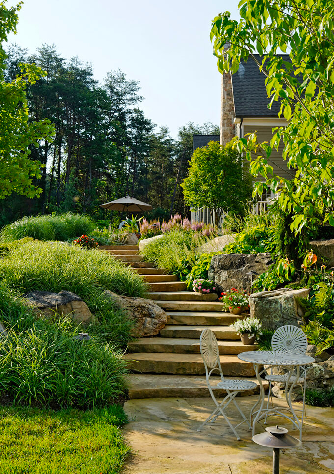 meandering stone staircase