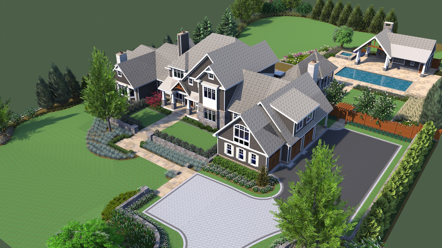 Landscape Design And Custom Home Rendering