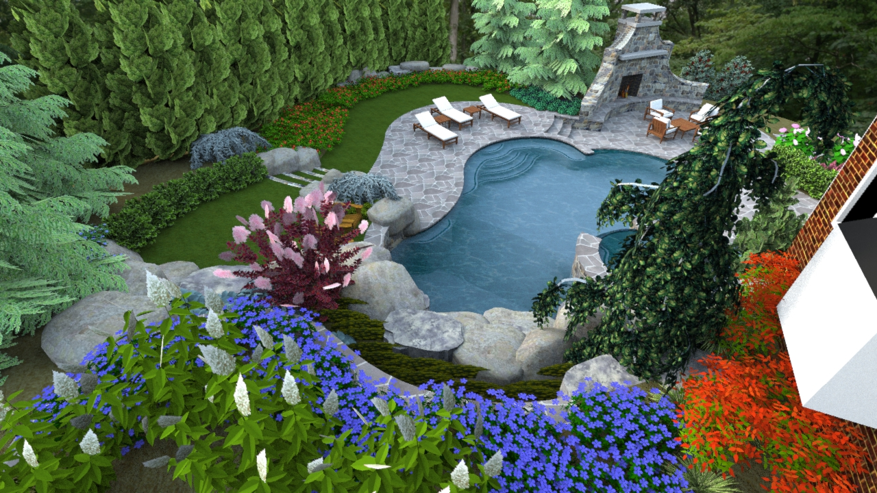 A right sized swimming pool design in herndon virginia for Pool and landscape design