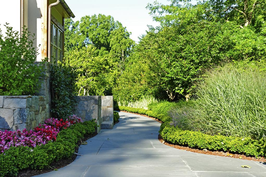 bluestone walkway and retaining walls