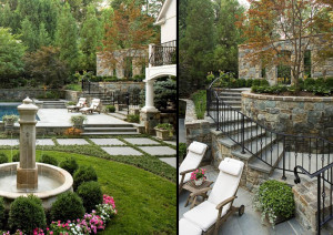 garden entry gate and curved stone retaining walls