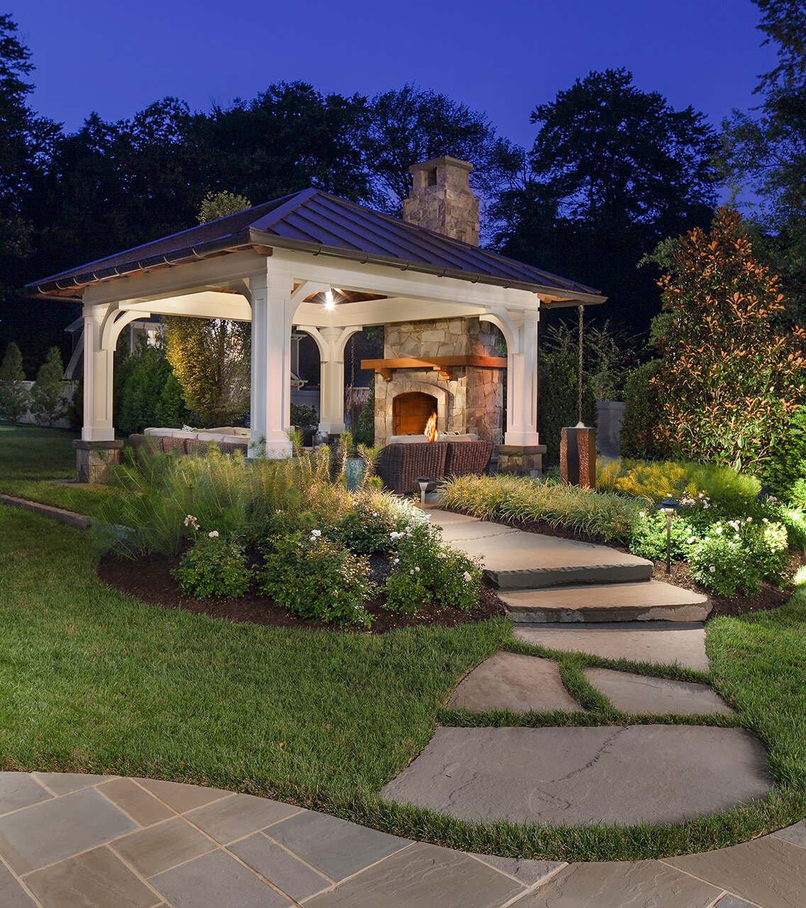 backyard fireplace pavilion