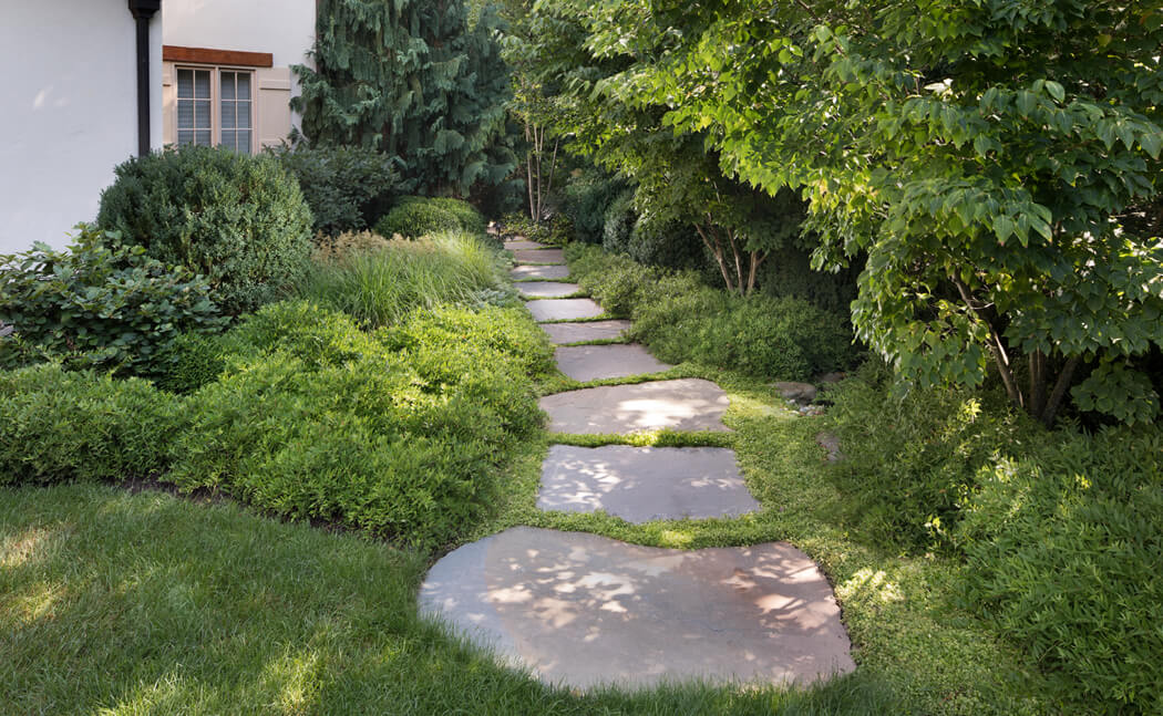 garden path of rough slabs