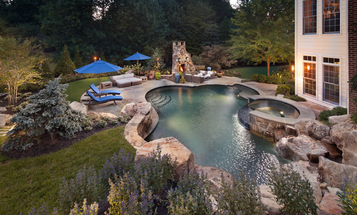 herdon va pool, spa, patio & fireplace