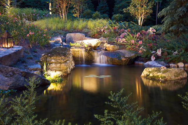 garden lighting at pond and waterfall