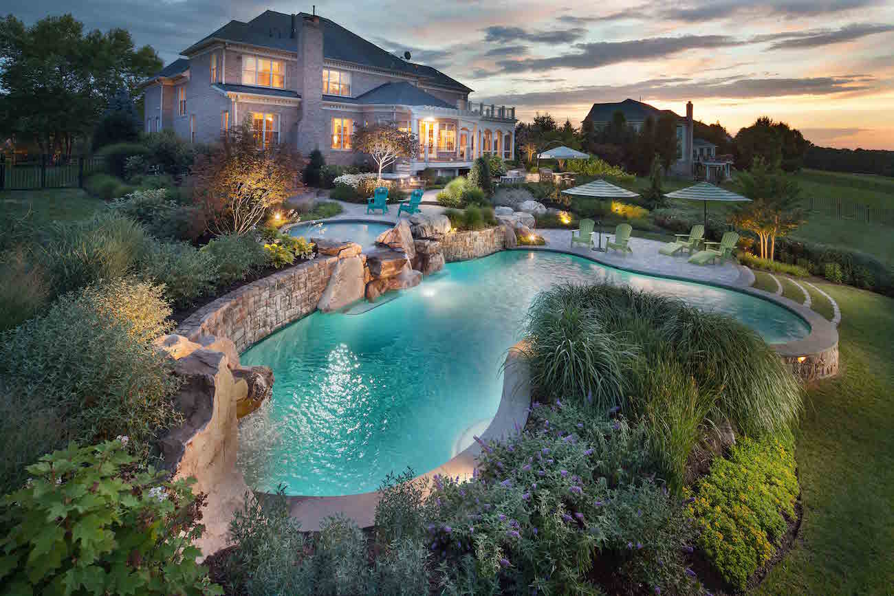 Landscape design for swimming pool waterfalls in potomac for Pool and landscape design