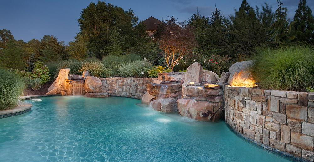pool withwaterfalls & retaining walls
