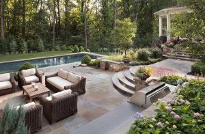 pool environment with split level patios