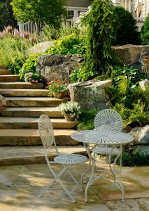 stone staircase arrival at patio