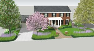 front walkway rendering with large portico