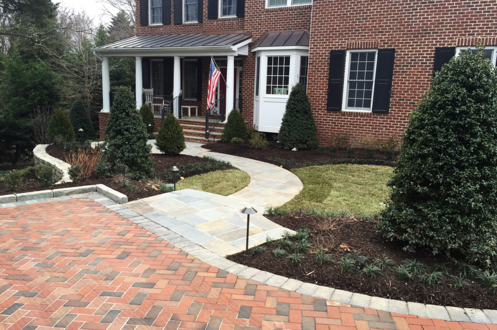 Front Yard Landscape Design in Alexandria Virginia | Surrounds ... on driveway home design, parking roof design, stations for cars parking design,