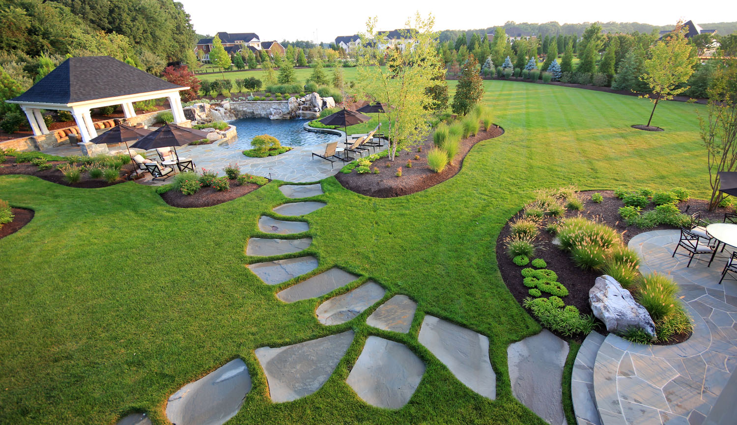 landscape design with curvaceous lawn