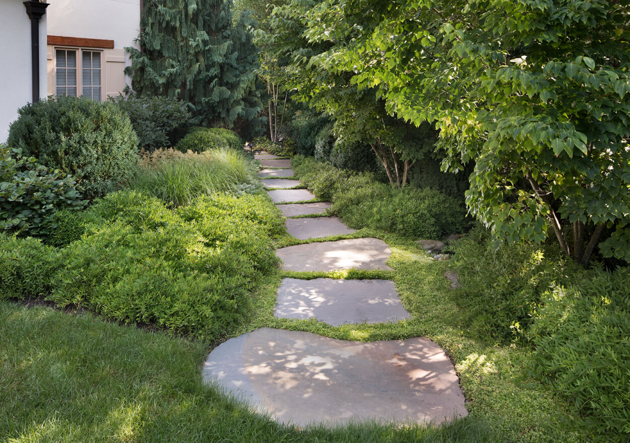 large stone slab walkway at McLean side lot