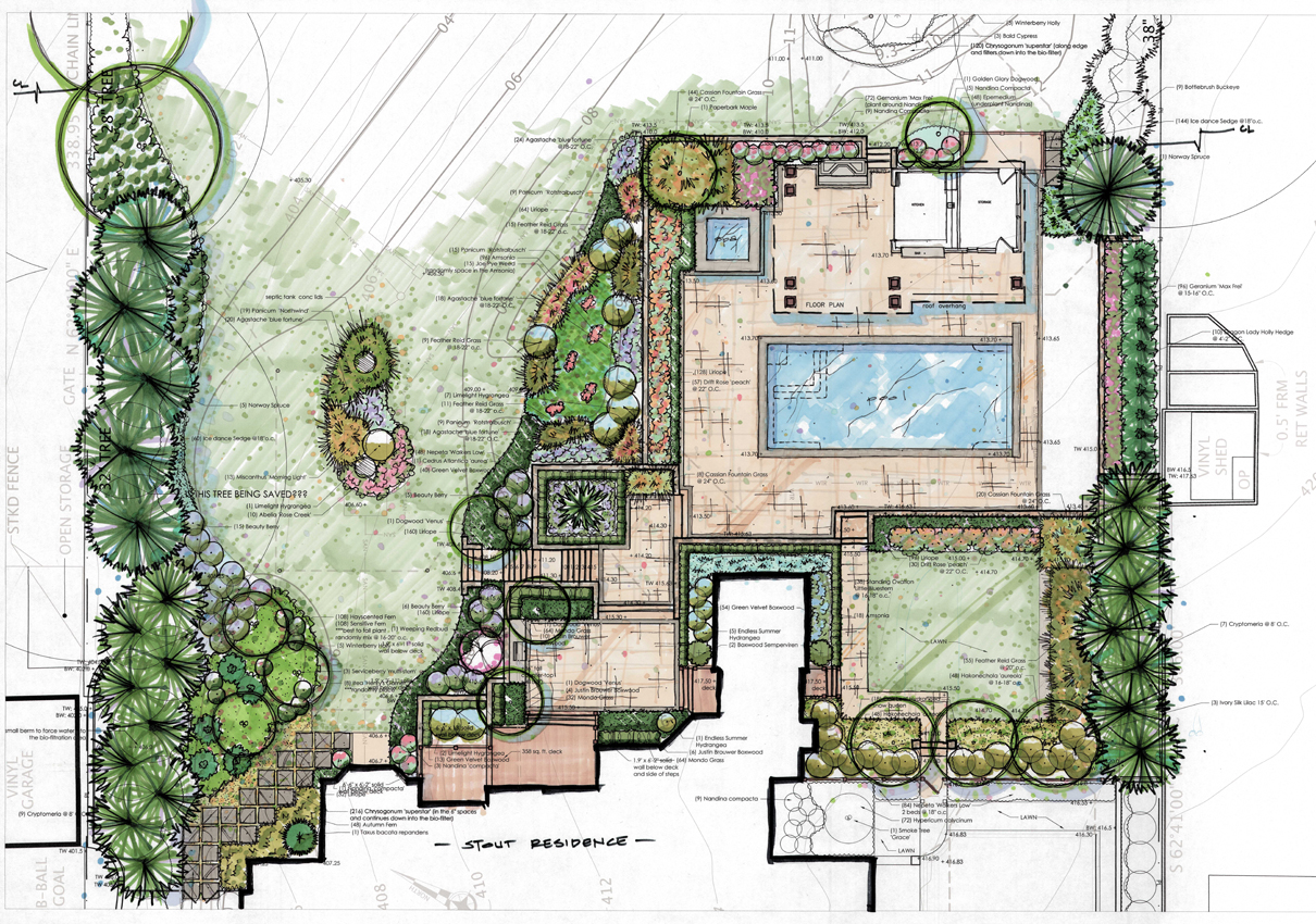 Landscape architect residential architect collaborate in for Backyard landscape design plans