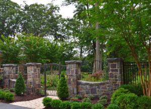 garden gate with stone columns