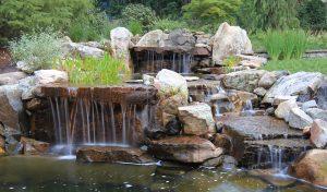 multi cascade waterfalls & koi pond