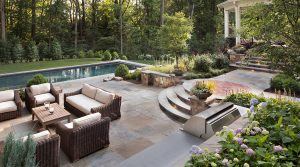outdoor living room with grille station