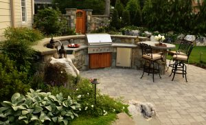 semi circle shaped outdoor kitchen in great falls va