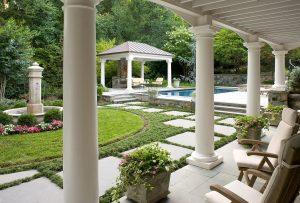 swimming pool with loggia and pavilion