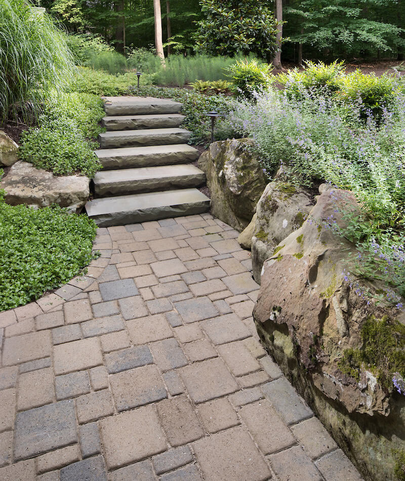 tumbled stone patio and slab stone steps