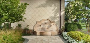 wall mounted fountain at entryway to home