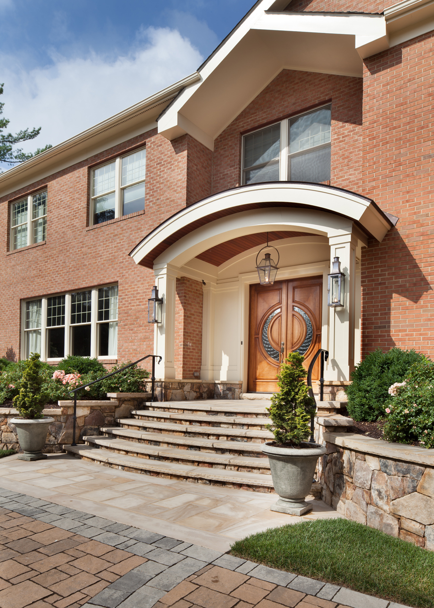 mclean front entry porch with curved roof