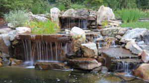 backyard waterfall showing curtain effect