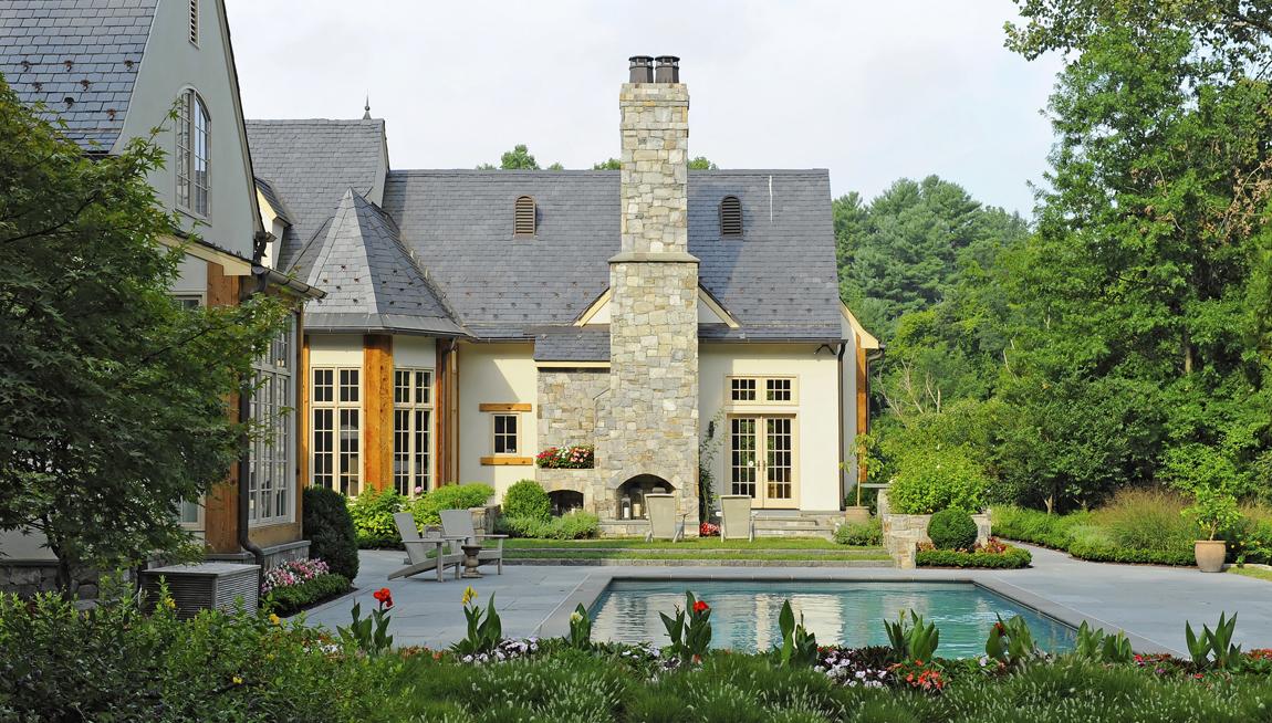 bluestone outdoor fireplace, chimney, coblestone steps & pool patio