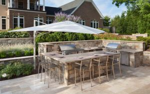 outdoor kitchen with twin grill